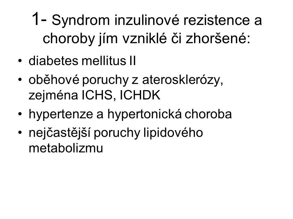 1- Syndrom inzulinové rezistence a choroby jím vzniklé či zhoršené: