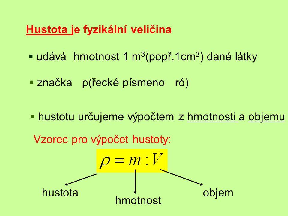 Hustota je fyzikální veličina