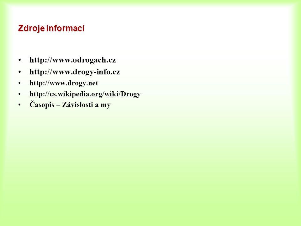 Zdroje informací http://www.odrogach.cz http://www.drogy-info.cz