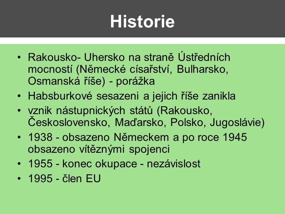Historie Rakousko- Uhersko na straně Ústředních mocností (Německé císařství, Bulharsko, Osmanská říše) - porážka.