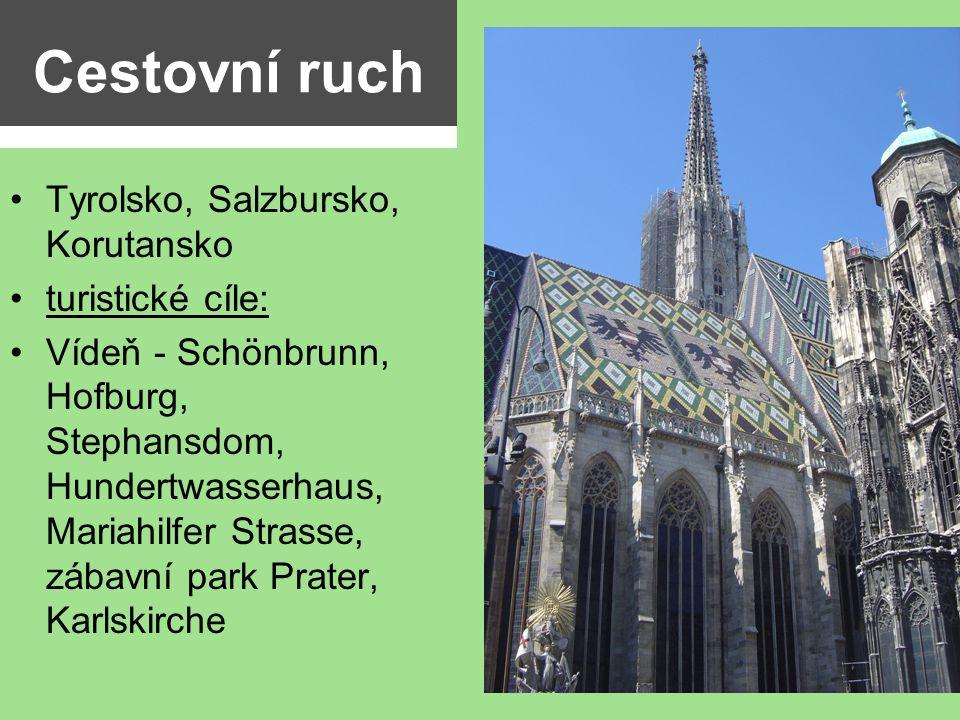 Cestovní ruch Tyrolsko, Salzbursko, Korutansko turistické cíle: