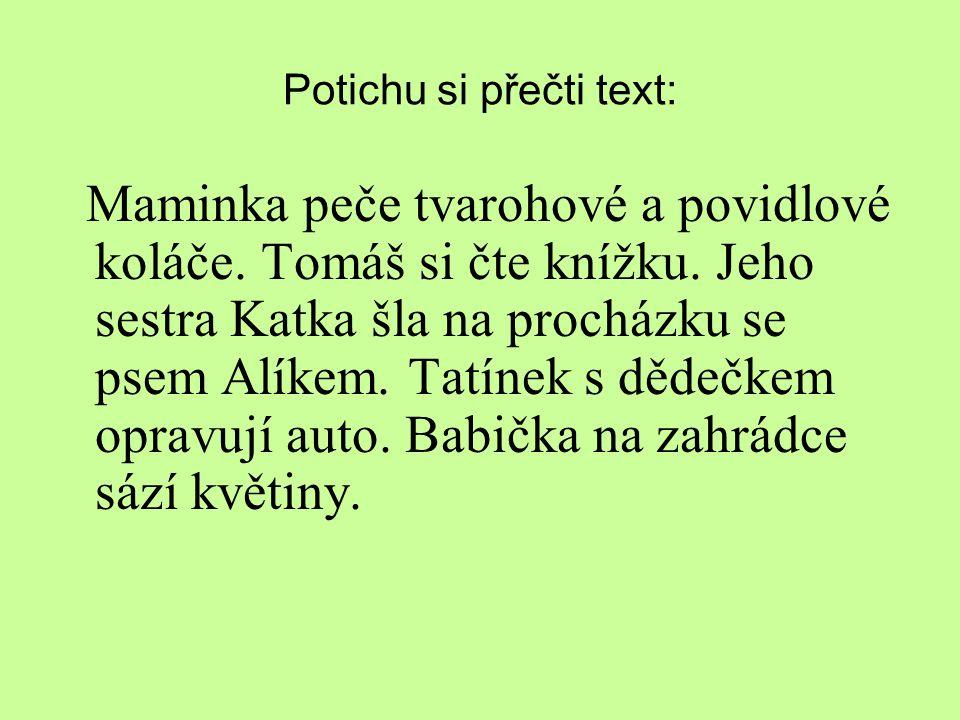 Potichu si přečti text: