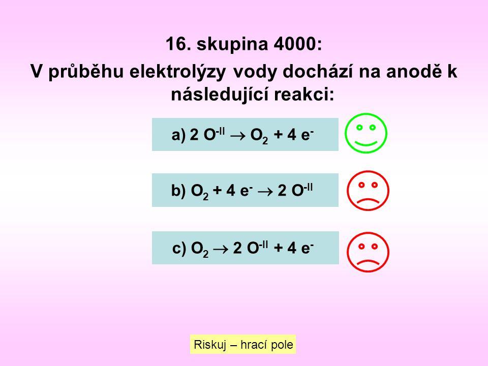 V průběhu elektrolýzy vody dochází na anodě k následující reakci: