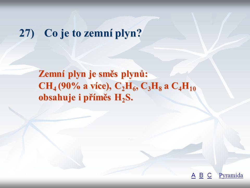27) Co je to zemní plyn Zemní plyn je směs plynů: CH4 (90% a více), C2H6, C3H8 a C4H10 obsahuje i příměs H2S.