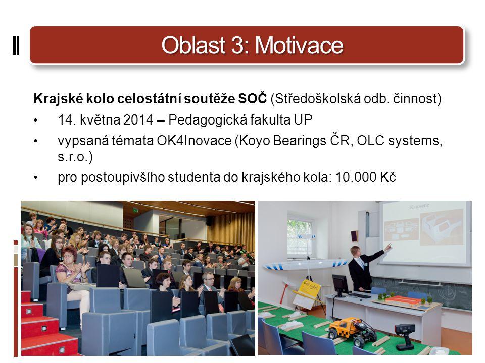 Oblast 3: Motivace Krajské kolo celostátní soutěže SOČ (Středoškolská odb. činnost) 14. května 2014 – Pedagogická fakulta UP.