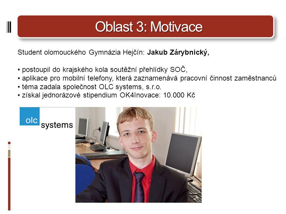 Oblast 3: Motivace Student olomouckého Gymnázia Hejčín: Jakub Zárybnický, postoupil do krajského kola soutěžní přehlídky SOČ,