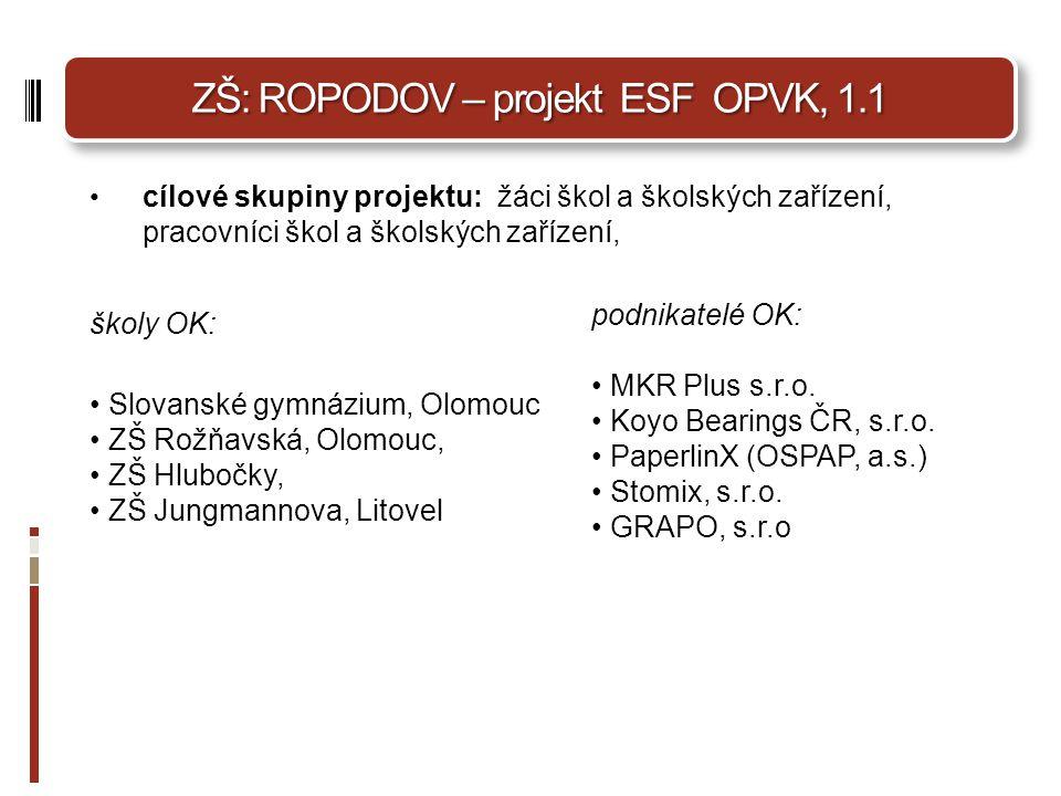 ZŠ: ROPODOV – projekt ESF OPVK, 1.1