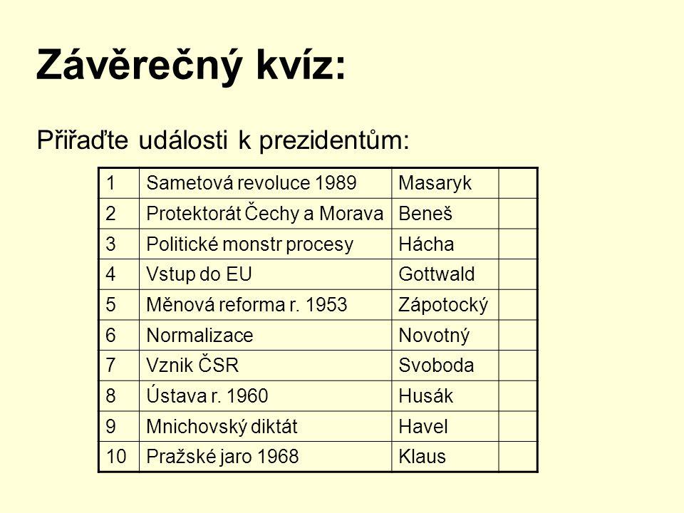 Závěrečný kvíz: Přiřaďte události k prezidentům: 1