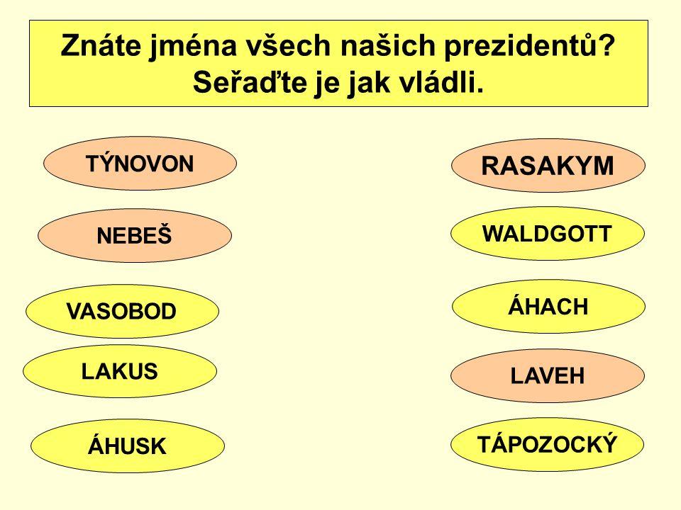 Znáte jména všech našich prezidentů