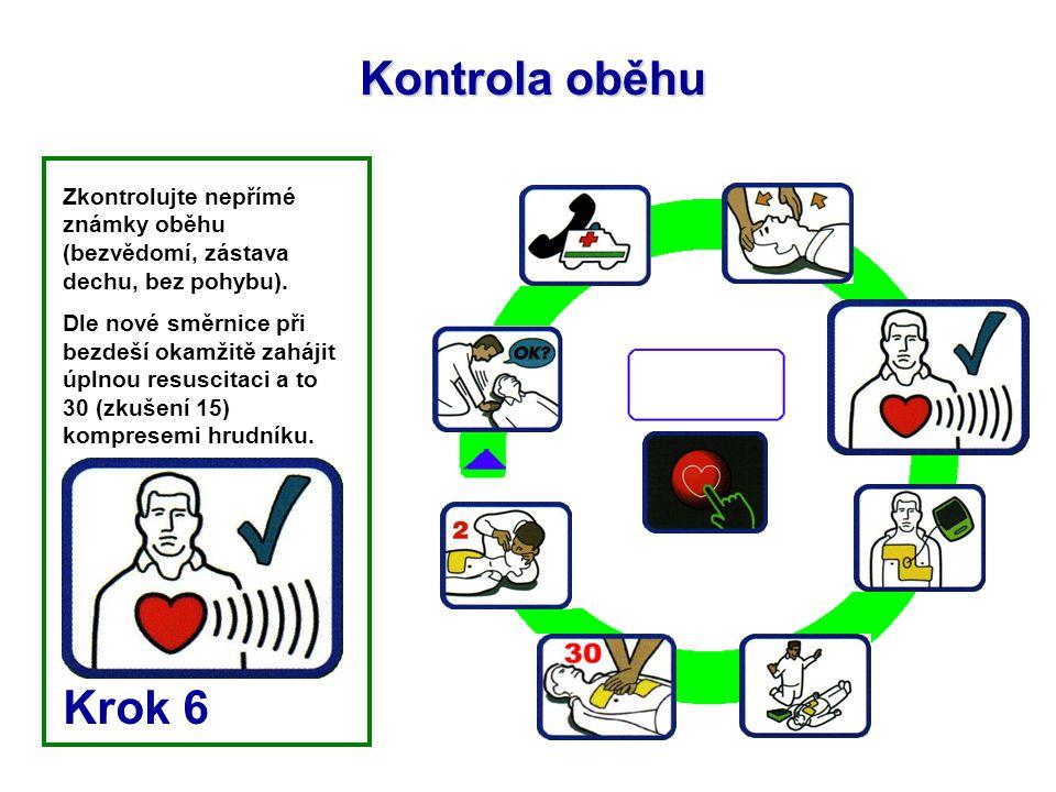 Kontrola oběhu Zkontrolujte nepřímé známky oběhu (bezvědomí, zástava dechu, bez pohybu).