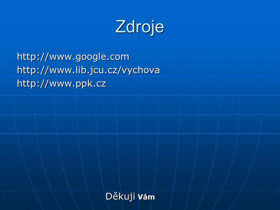 Zdroje http://www.google.com http://www.lib.jcu.cz/vychova
