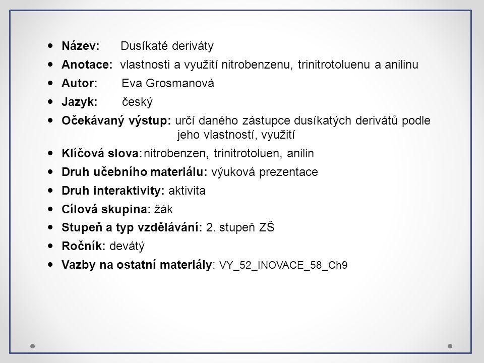 Název: Dusíkaté deriváty