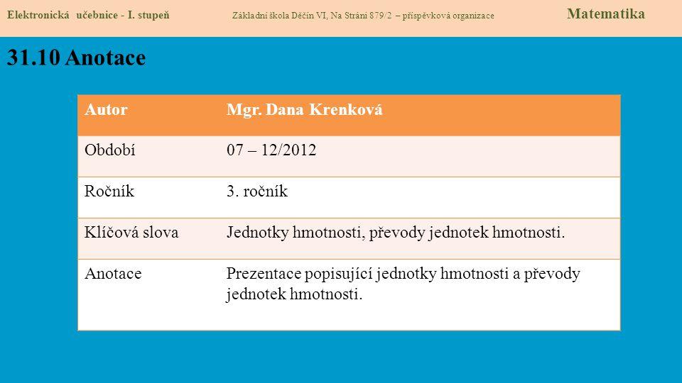 31.10 Anotace Autor Mgr. Dana Krenková Období 07 – 12/2012 Ročník