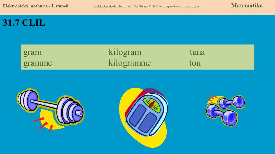 31.7 CLIL gram kilogram tuna gramme kilogramme ton