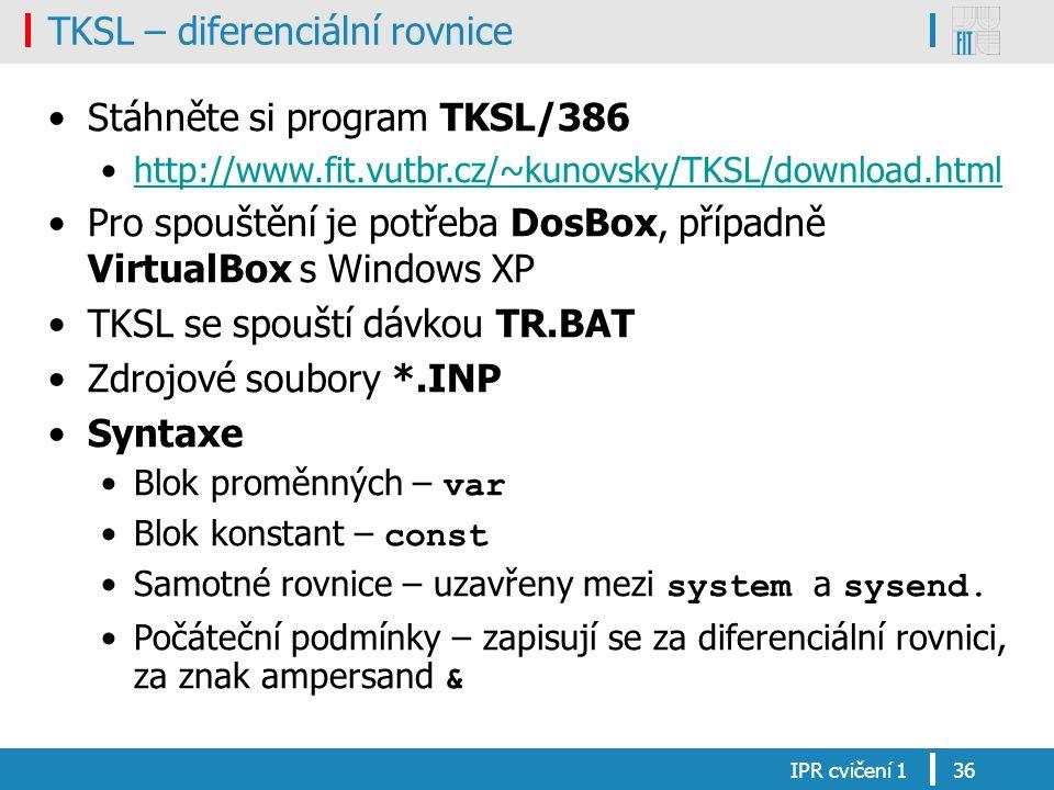 TKSL – diferenciální rovnice