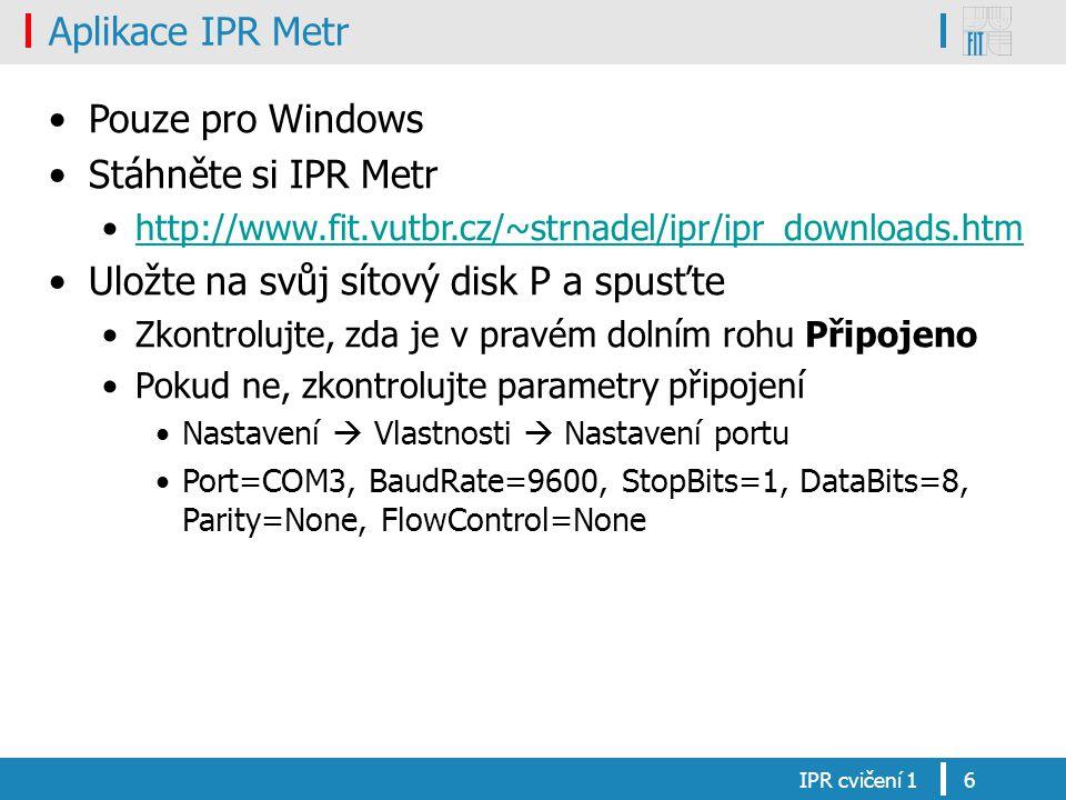 Uložte na svůj sítový disk P a spusťte