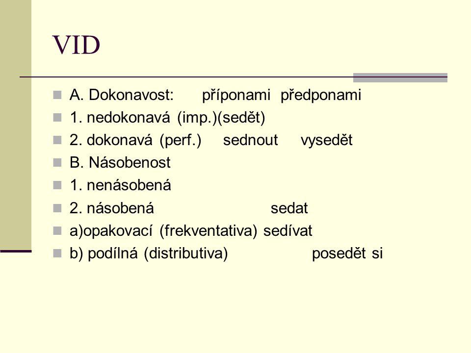 VID A. Dokonavost: příponami předponami 1. nedokonavá (imp.)(sedět)