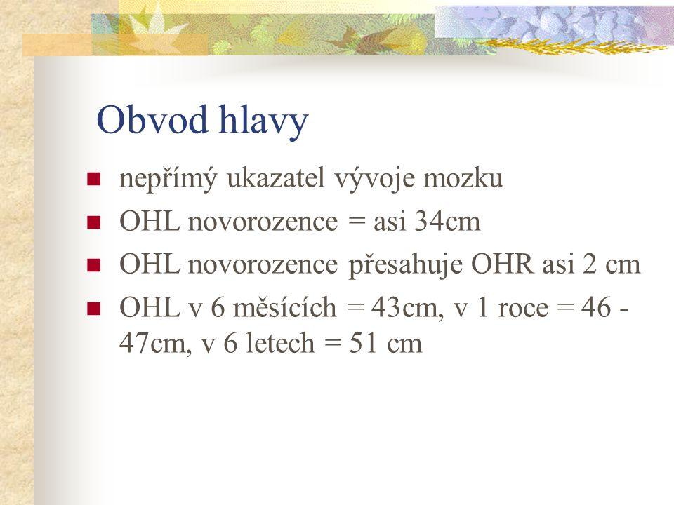Obvod hlavy nepřímý ukazatel vývoje mozku OHL novorozence = asi 34cm