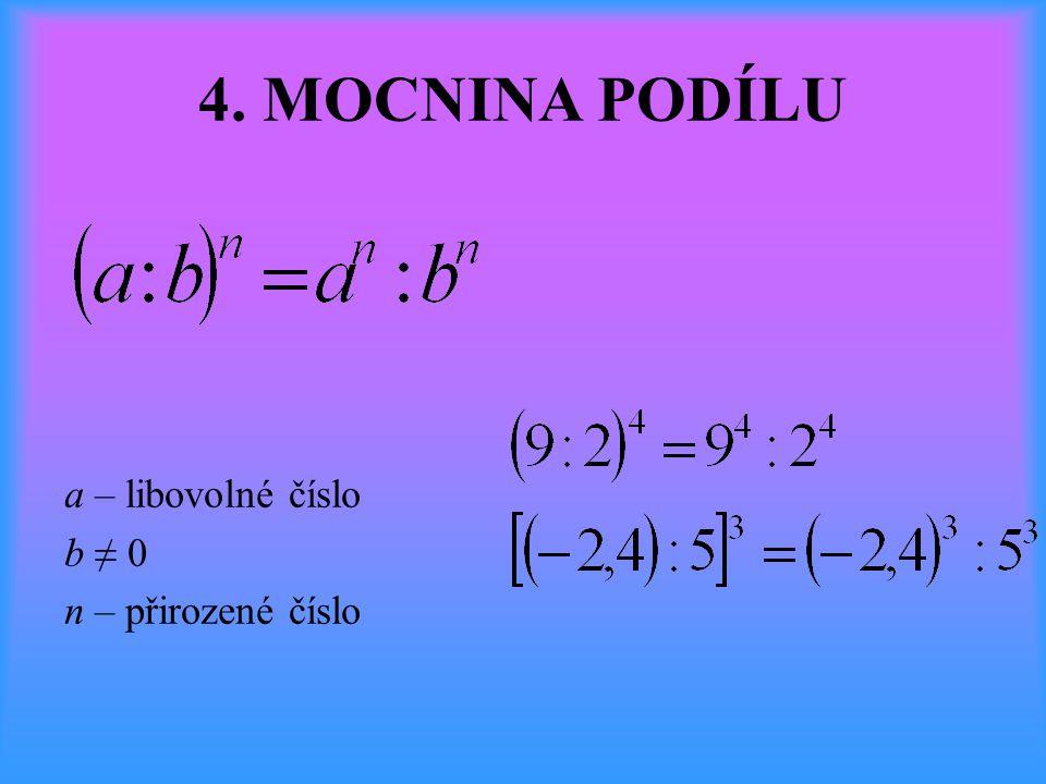 4. MOCNINA PODÍLU a – libovolné číslo b ≠ 0 n – přirozené číslo