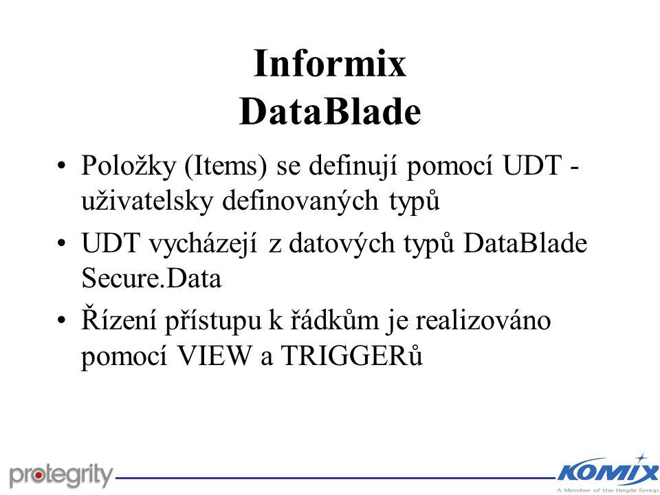 Informix DataBlade Položky (Items) se definují pomocí UDT - uživatelsky definovaných typů. UDT vycházejí z datových typů DataBlade Secure.Data.