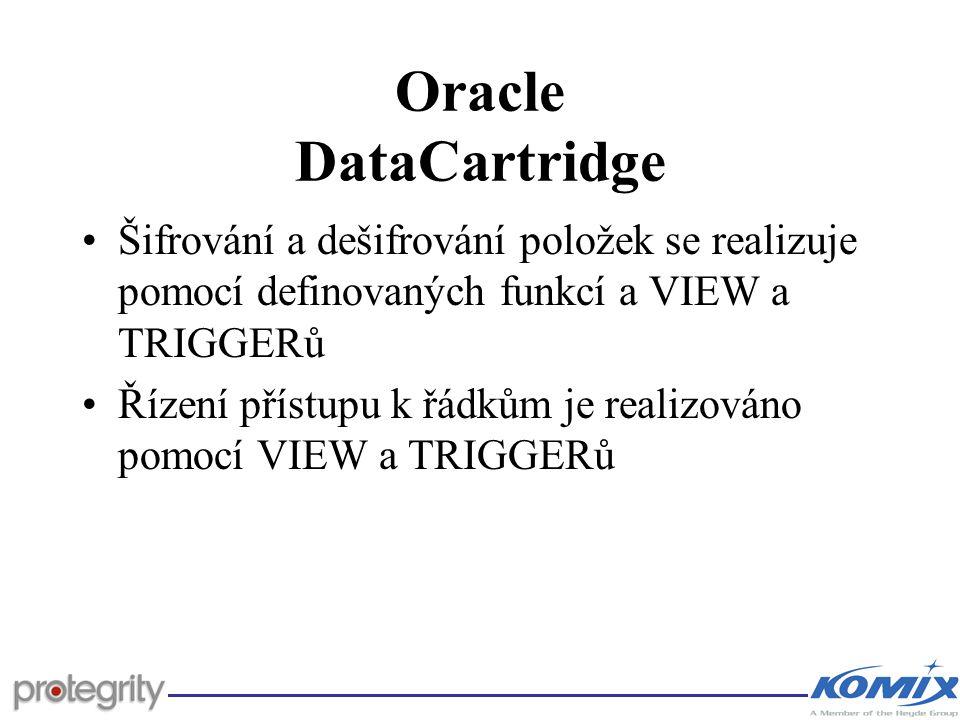 Oracle DataCartridge Šifrování a dešifrování položek se realizuje pomocí definovaných funkcí a VIEW a TRIGGERů.