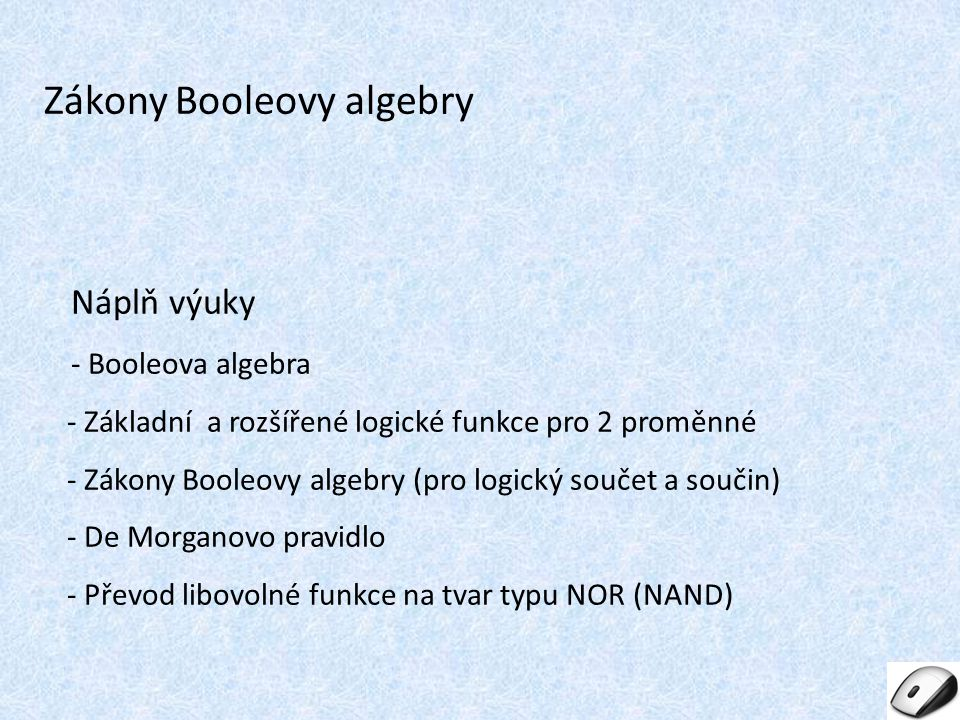 Zákony Booleovy algebry