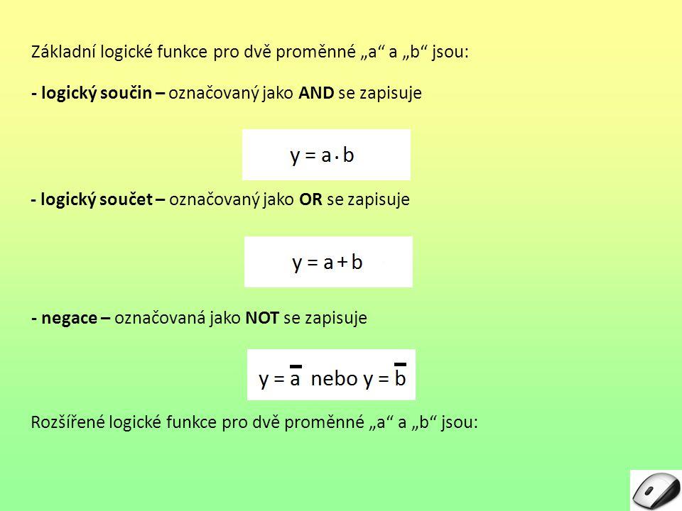 """Základní logické funkce pro dvě proměnné """"a a """"b jsou:"""