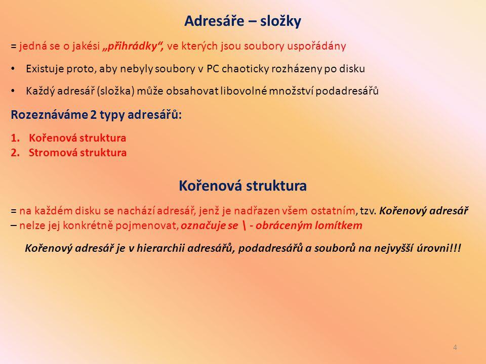 Adresáře – složky Rozeznáváme 2 typy adresářů: