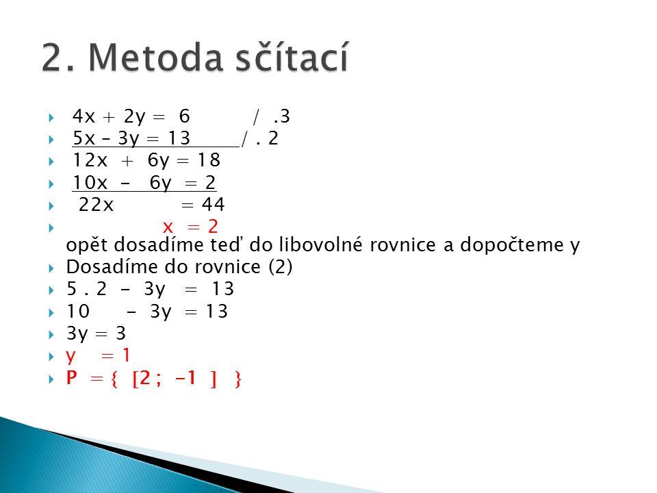 2. Metoda sčítací 4x + 2y = 6 / .3 5x – 3y = 13 / . 2 12x + 6y = 18