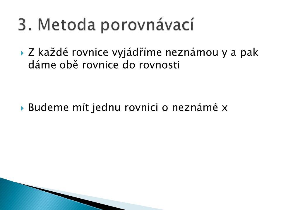 3. Metoda porovnávací Z každé rovnice vyjádříme neznámou y a pak dáme obě rovnice do rovnosti.