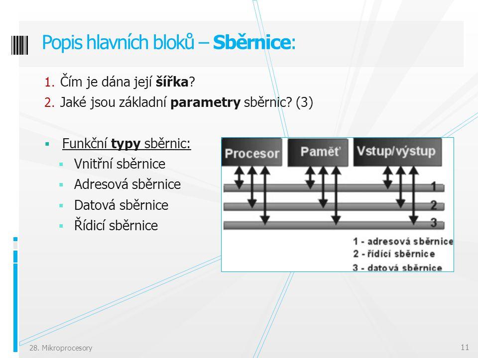 Popis hlavních bloků – Sběrnice: