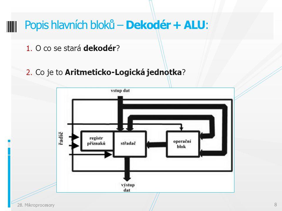 Popis hlavních bloků – Dekodér + ALU: