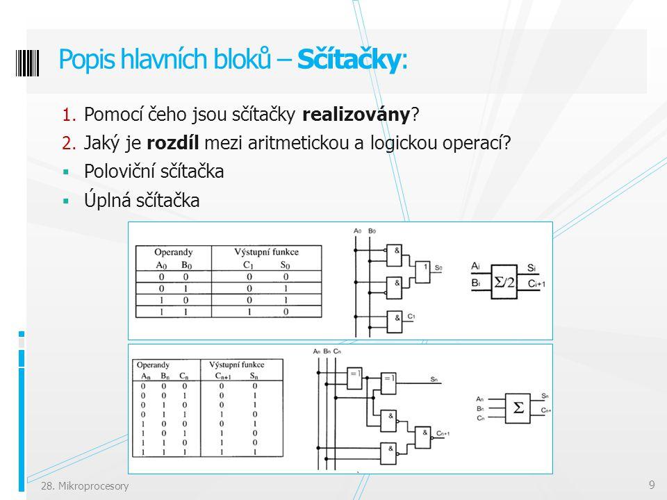 Popis hlavních bloků – Sčítačky: