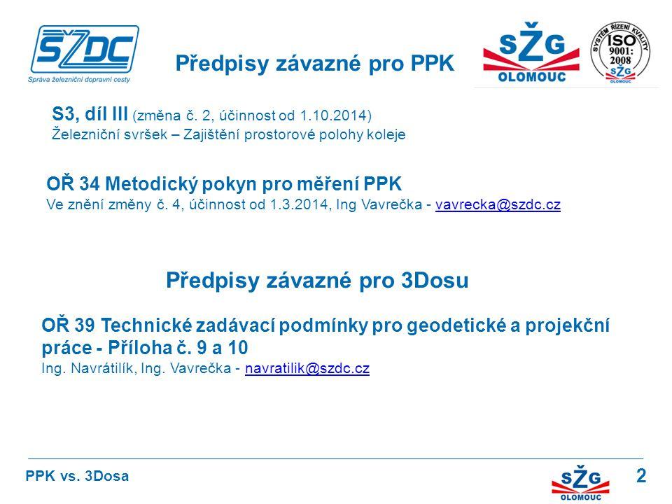 Předpisy závazné pro PPK Předpisy závazné pro 3Dosu