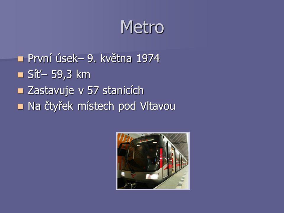 Metro První úsek– 9. května 1974 Síť– 59,3 km Zastavuje v 57 stanicích
