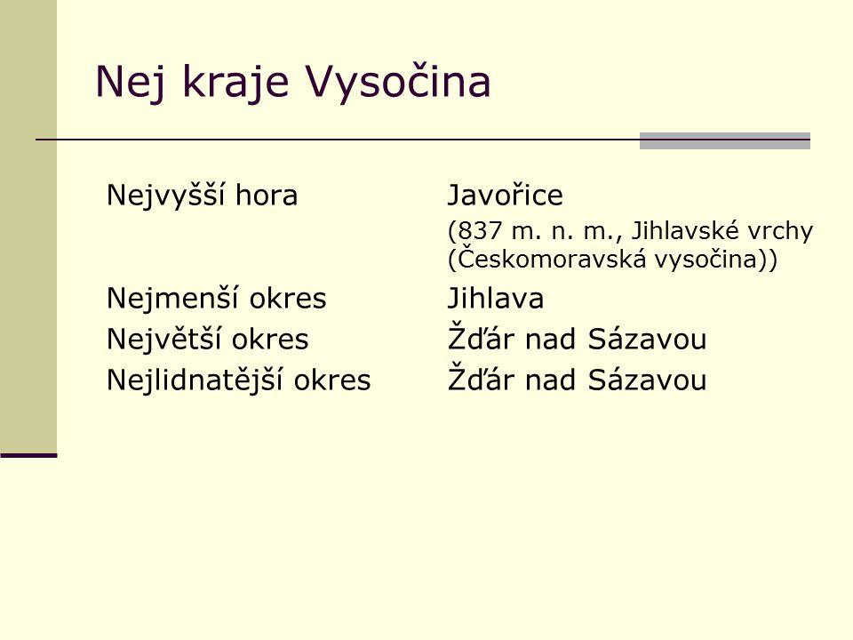 Nej kraje Vysočina Nejvyšší hora Javořice Nejmenší okres Jihlava