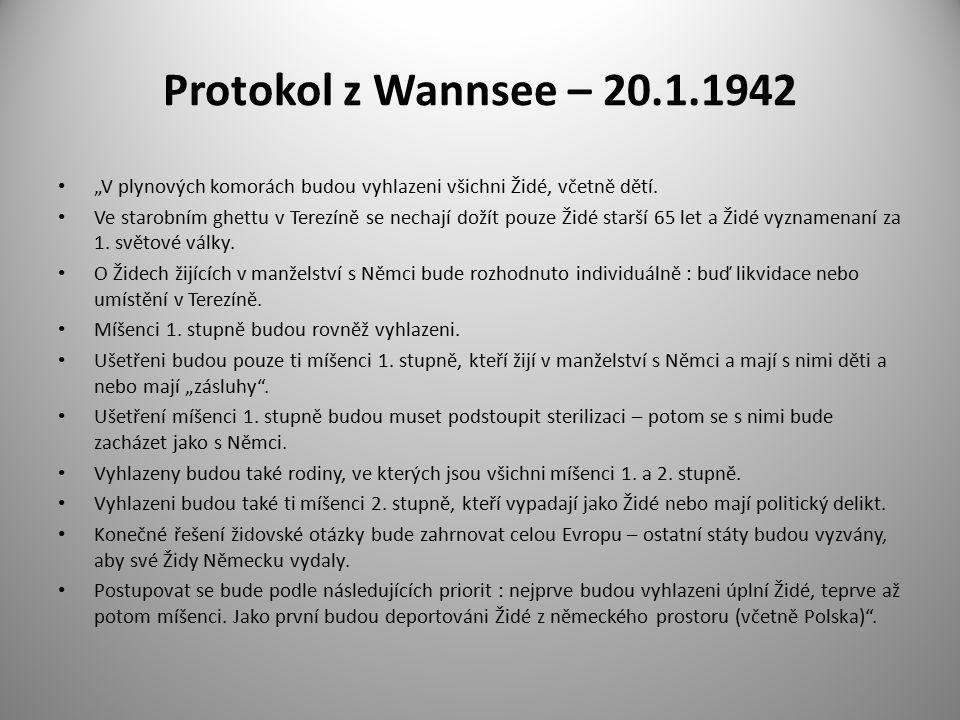 """Protokol z Wannsee – 20.1.1942 """"V plynových komorách budou vyhlazeni všichni Židé, včetně dětí."""
