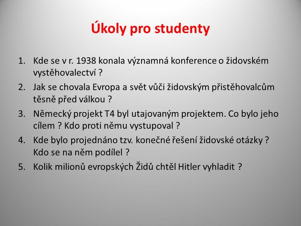 Úkoly pro studenty Kde se v r. 1938 konala významná konference o židovském vystěhovalectví