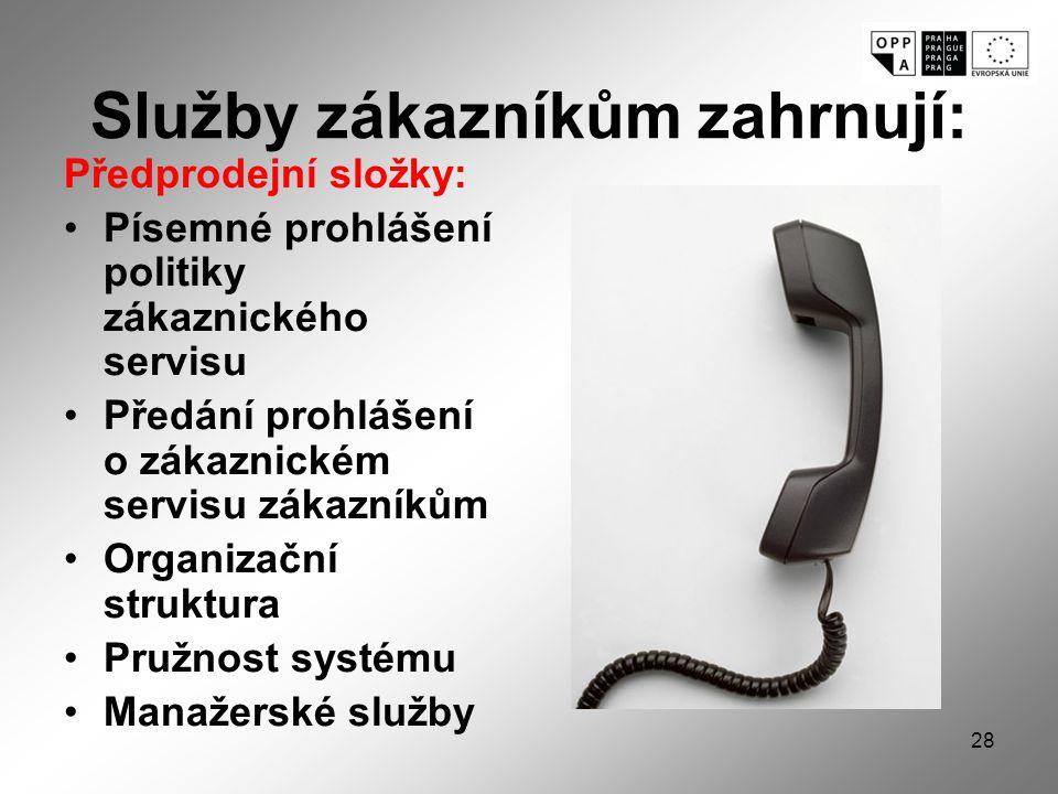 Služby zákazníkům zahrnují: