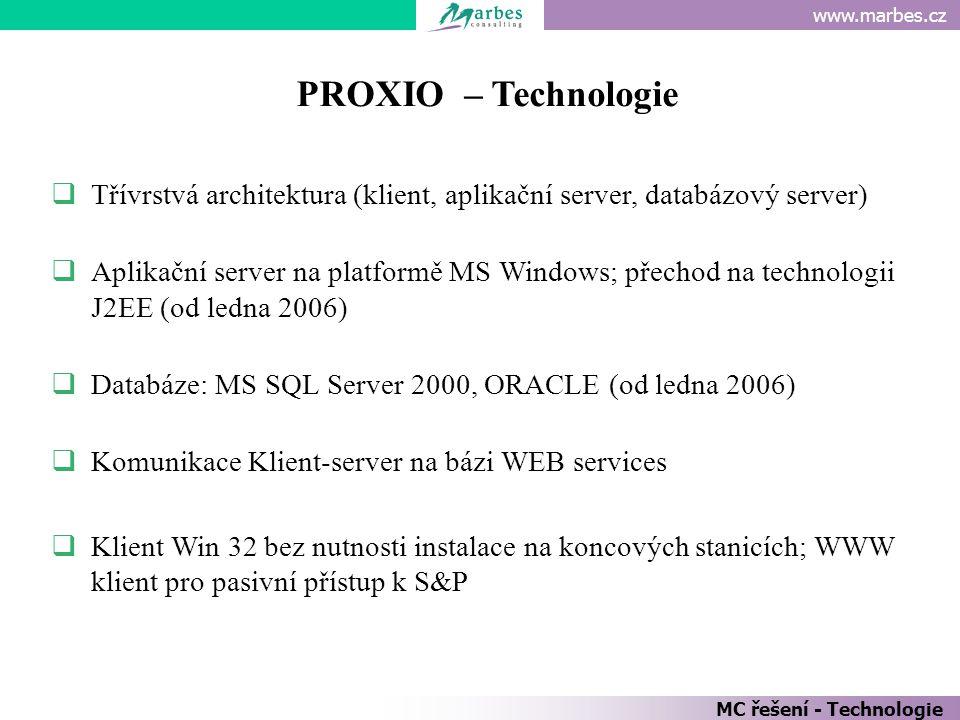 PROXIO – Technologie Třívrstvá architektura (klient, aplikační server, databázový server)