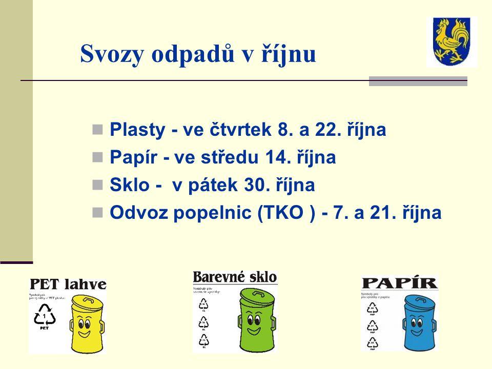 Svozy odpadů v říjnu Plasty - ve čtvrtek 8. a 22. října