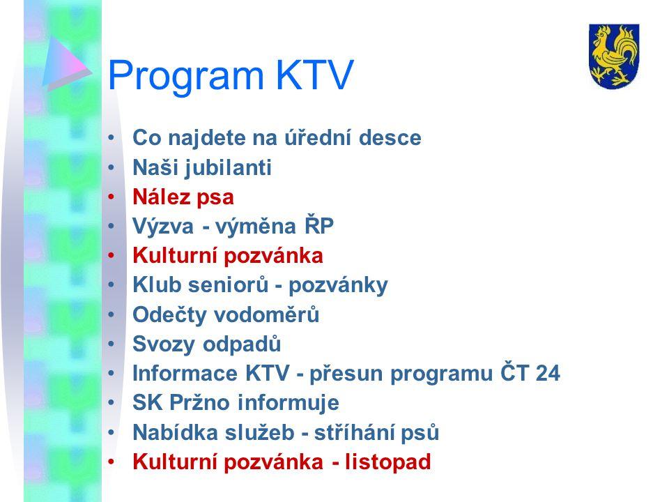 Program KTV Co najdete na úřední desce Naši jubilanti Nález psa