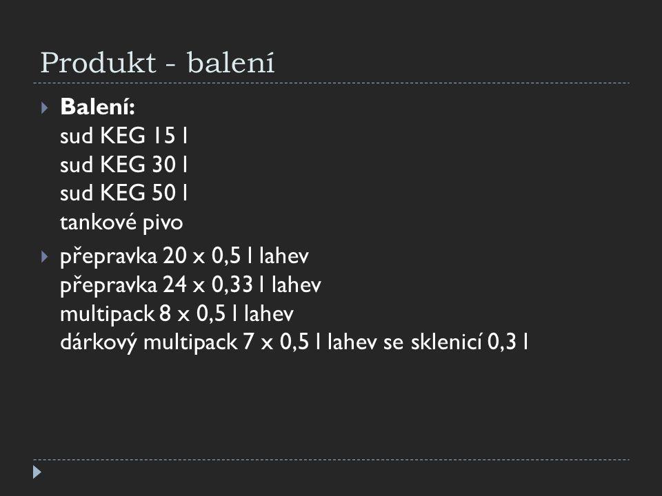 Produkt - balení Balení: sud KEG 15 l sud KEG 30 l sud KEG 50 l tankové pivo.