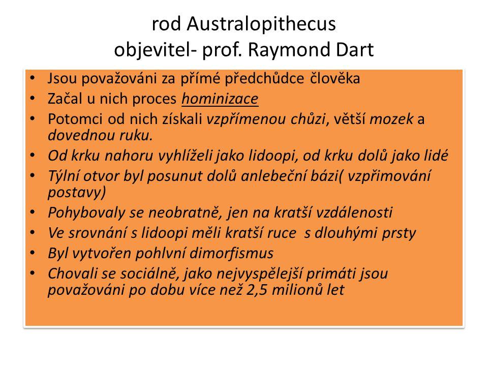 rod Australopithecus objevitel- prof. Raymond Dart