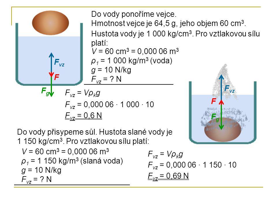 Do vody ponoříme vejce. Hmotnost vejce je 64,5 g, jeho objem 60 cm3. Hustota vody je 1 000 kg/cm3. Pro vztlakovou sílu platí: