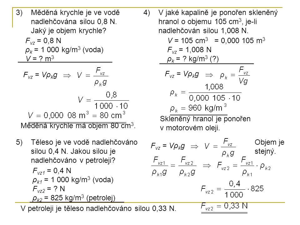 Měděná krychle je ve vodě nadlehčována silou 0,8 N