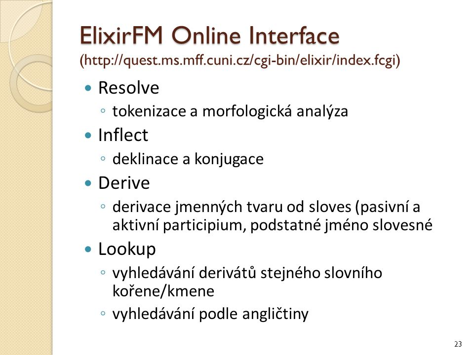 ElixirFM Online Interface (http://quest. ms. mff. cuni