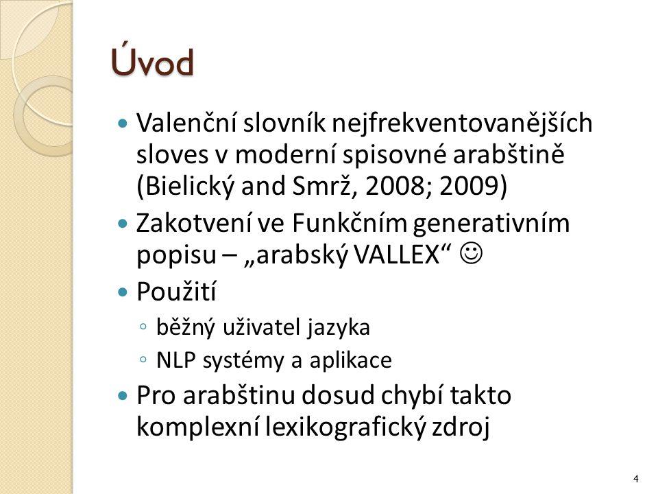 Úvod Valenční slovník nejfrekventovanějších sloves v moderní spisovné arabštině (Bielický and Smrž, 2008; 2009)