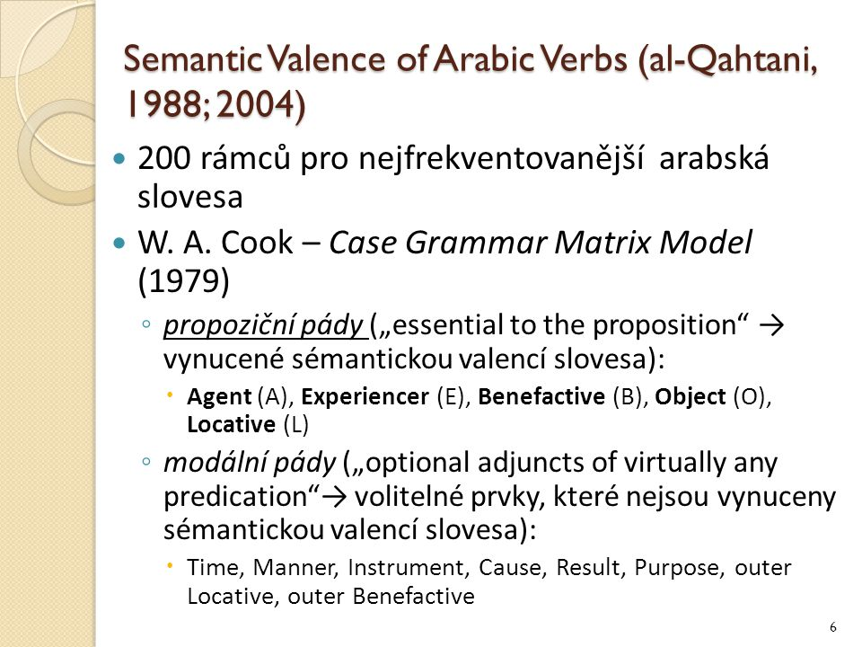 Semantic Valence of Arabic Verbs (al-Qahtani, 1988; 2004)