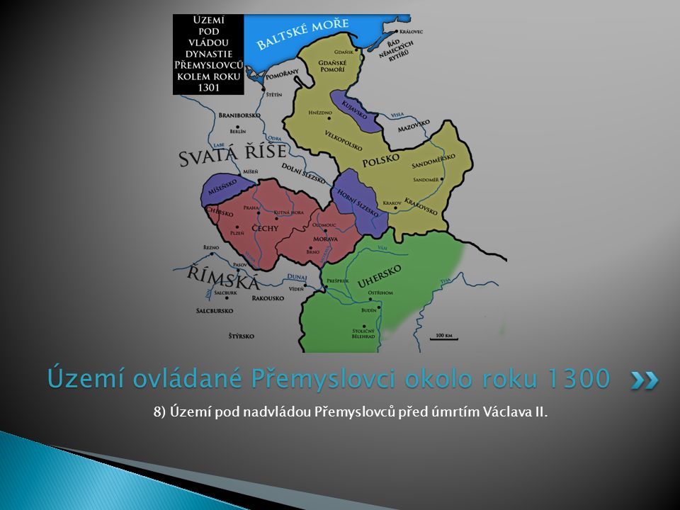 Území ovládané Přemyslovci okolo roku 1300